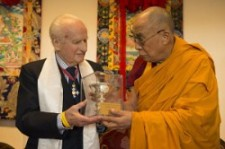 Robert Ford presented with ICT's Light of Truth award by His Holiness the Dalai Lama in April 2013